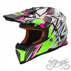 Kask cross/enduro LS2 MX437 Fast Strong White Green Pink