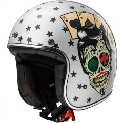 Kask otwarty LS2 OF583 Bobber Tattoo Silver