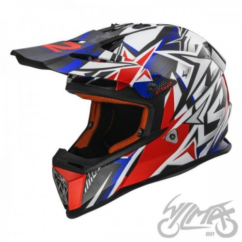 Kask cross/enduro LS2 MX437 Fast Strong White Blue Red